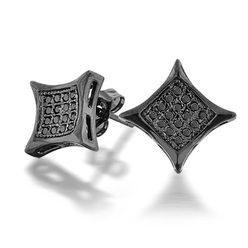 Bling Jewelry Black Onyx Color CZ Kite Micro Pave Mens Stud Earrings 11mm