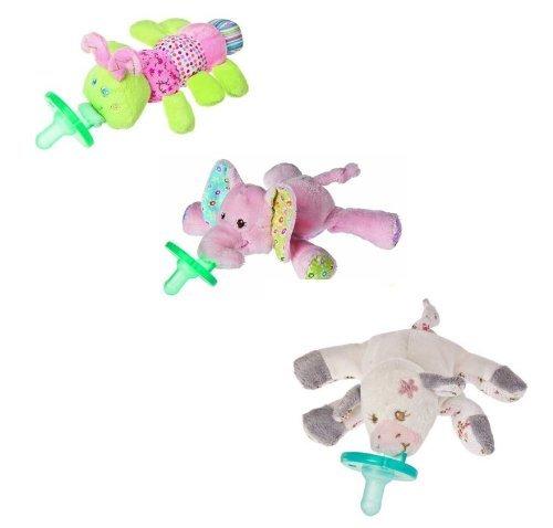 Wubbanub Infant Plush Pacifier - Limited Edition Set (Moo Moo Cow, Cutsie Caterpillar, Ella Elephant) front-86730