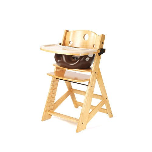 Keekaroo Height Right High Chair With Infant Insert Tray Natural With Chocolate
