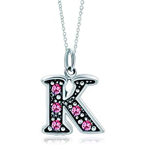 Pugster Silver Rose Pink Crystal Diamond Accent Letter L Link Charm Charms Bracelet & Pendant Necklace