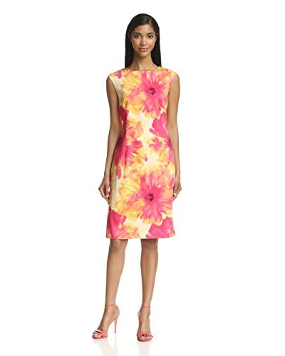 Chetta B Women's Floral Print Sheath Dress  [Pink/Yellow]