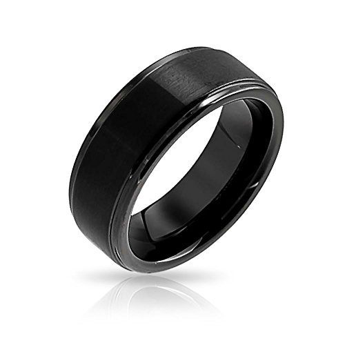 Bling Jewelry Unisex Matte Black Tungsten Band Ring 8 millimetri