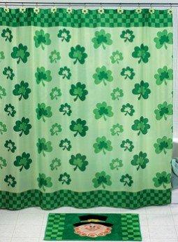 Detail Shop Shamrock SHOWER CURTAIN St Patricks Day Saint Paddy Paddys Irish Green Bathroom Bath Room Tub Home Decor