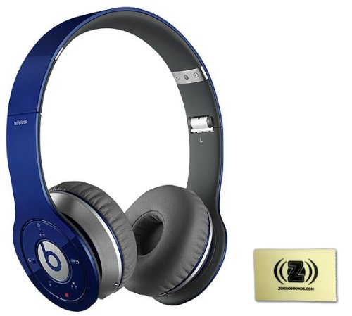 Beats By Dr. Dre Wireless On-Ear Headphones (Blue) Bundle With Custom Design Zorro Sounds Cleaning Cloth