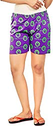 Udankhatola Women's Cotton Shorts (BOXW-VEG(GRN)-PRPL, Purple, 34)
