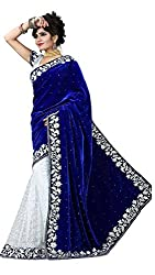 Yogi Fashion Womens Fabric velvet Saree ( 126_Blue_Freesize )