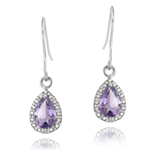 Sterling Silver 2.5ct Amethyst & Diamond Accent Teardrop Dangle Earrings