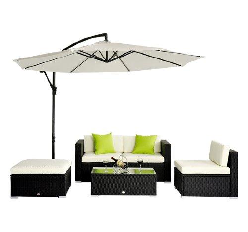 5pc Rattan Wicker Conservatory Furniture Garden Corner Sofa Outdoor Patio Furniture Set Aluminium Black
