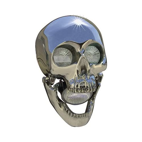 SKULLBNA Black Nickel Skull Headlight for Harley Custom Application