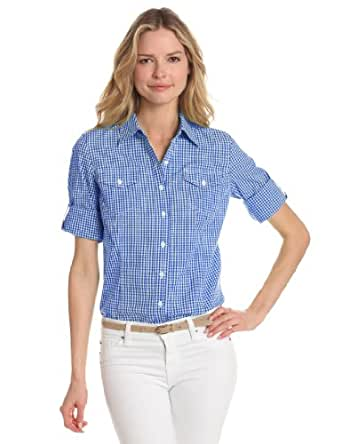 Jones New York Women's Petite Fitted Roll-Up Checked Elbow Sleeve Shirt, Bright Sapphire/White, Large