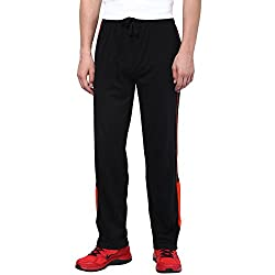 Aventura Outfitters Single Jersey Trackpant Black With Half Red Stripes and Two Piping - M (AOSJTP520-M)