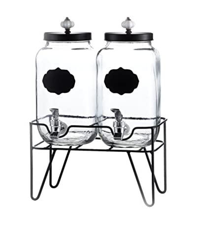 Style Setter Manchester Set of 2 Beverage Dispensers with Ceramic Knobs & a Stand