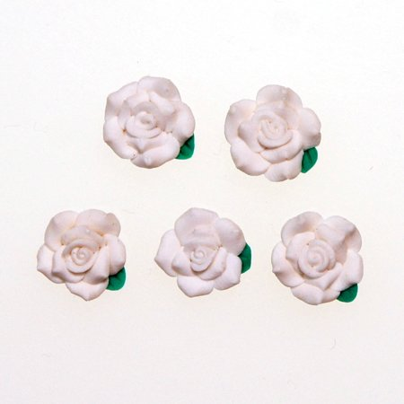 デコパーツ 1.3cm少し大きめの樹脂薔薇真っ白 レジンパーツ レジンクラフト