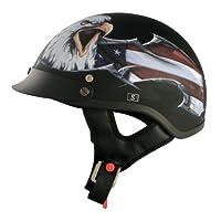 VCAN V531 Cruiser Patriotic Eagle Graphics Half Helmet (Flat Black, X-Large) by VCAN