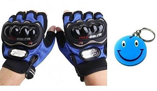 Morelife Bike Racing Pro-Biker Motorcycle Riding Blue Gloves Half Finger Less Size XL With Free Smiley Key Chain