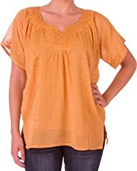 Sakkas Embroidered 100% Cotton Semi-Sheer Short Sleeve Gauzy Top / Blouse