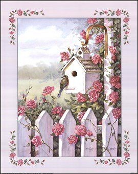 Birdhouse With Roses Art Poster PRINT Peggy Thatch Sibley 16x20