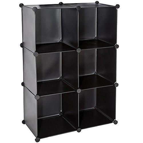 tectake etag re escalier enfichable penderie v tements rangement clip meuble noir. Black Bedroom Furniture Sets. Home Design Ideas