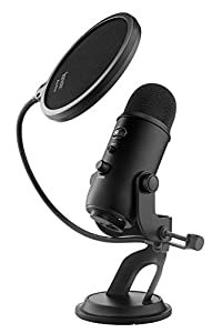 Blue Microphones Yeti USB Microphone - Blackout Edition Bundle with JVC Full-Size Headphones and Knox Pop Filter from Blue Microphones