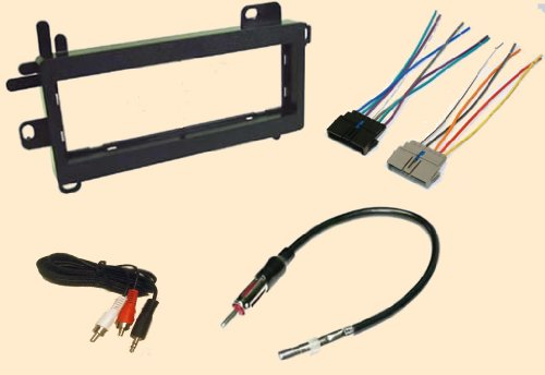Jeep Wrangler 1997 1998 1999 2000 2001 2002 Stereo Wiring Harness, Dash Install Kit Faceplate, With Fm Antenna Adaptor (Combo Complete Aftermarket Stereo Wire And Installation Kit)