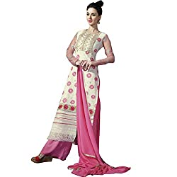Party Wear Cream Colored Poly Georgette Suit