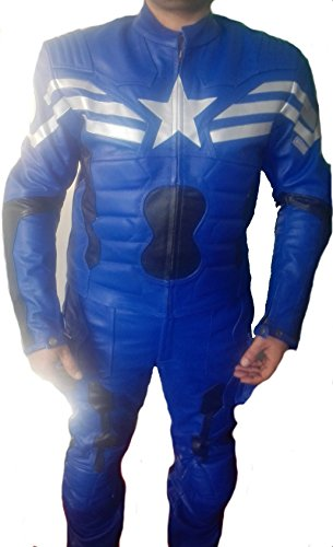 Coolhides Mens Captain America Blue Leather Jacket (Medium, Cow Split Blue Suit)