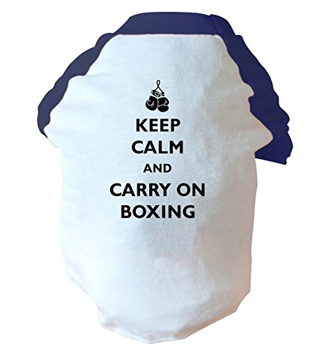 Keep calm and carry on boxing two toned dog vest pink or blue