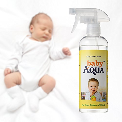 Baby AQUA (16.7 Oz) - 100% Natural All-Purpose Cleaner Spray for Toys & Pacifiers; Cloth Diaper Sprayer - Removes Ammonia Buildup, Stains, & Odor