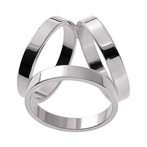 Maikun Scarf Ring Modern Simple Design Triple-ring Scarf Ring White Gold Color