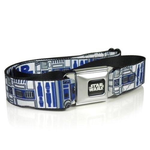 Buckle Down Star Wars Seatbelt Buckle Adjustable Web Belt (Blue & White - R2-D2)