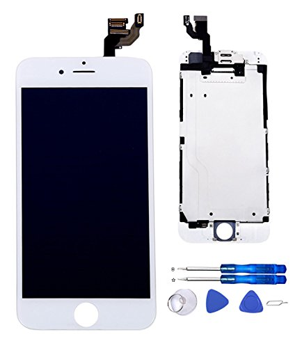 Glob-Tech iPhone 6 4.7 Inch Digitizer Full Assembly Replacement LCD Display Touch Screen with Small Components Facing Proximity Sensor + Ear Speaker + Front Camera + Repair Tools,iPhone 6 White (Parts Iphone 6 compare prices)