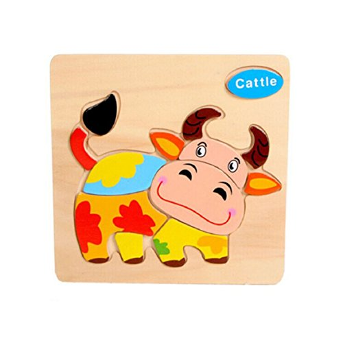 Sandistore Wooden Cattle Puzzle Educational Developmental Baby Kids Training Toy