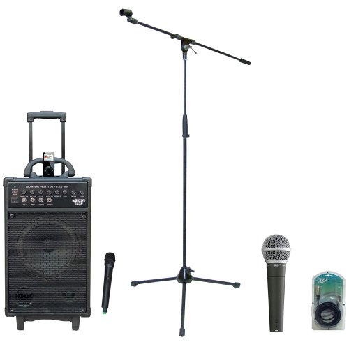 Pyle Speaker, Mic, Cable And Stand Package - Pwma860I 500W Vhf Wireless Portable Pa Speaker System /Echo W/Ipod Dock - Pdmic58 Professional Moving Coil Dynamic Handheld Microphone - Pmks2 Tripod Microphone Stand W/Boom - Ppfmxlr15 15Ft. Xlr Male To Xlr Fe