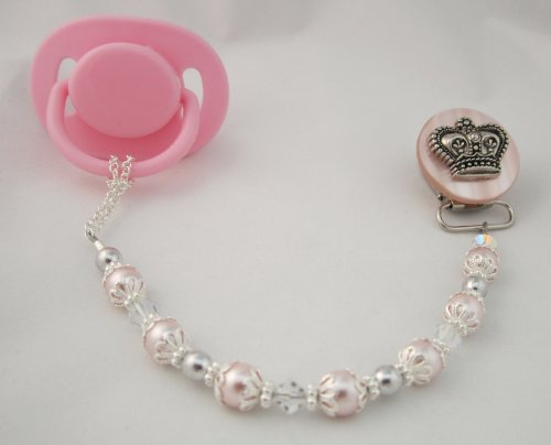 Baby Pink Crown Pacifier Clip
