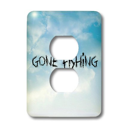 Lsp_172371_6 Xander Sports Sayings - Gone Fishing, Clouds Background, Black Lettering - Light Switch Covers - 2 Plug Outlet Cover front-280269