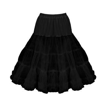 """Black Butterfly Clothing 25""""Long Full Net 50'S - 60'SProm Petticoat Skirt Slip (16-22, Black)"""