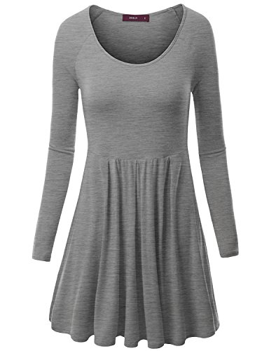 Doublju Womens Long Raglan Sleeve Scoop Neck Flare Tunic Top HEATHERGRAY 2XL