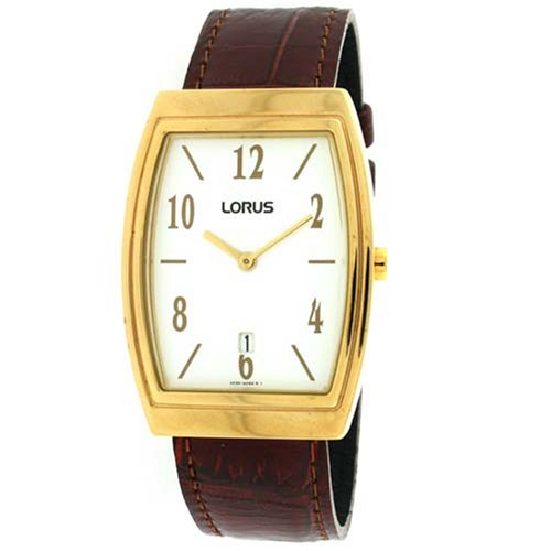 Lorus Men Classic Watch Calendar Gold-Tone Case Brown Leather Band SALE