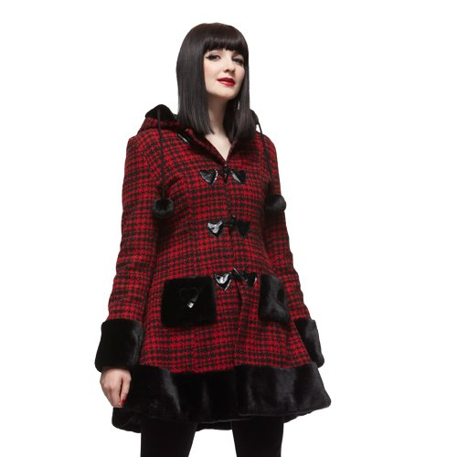 Hell Bunny Ladies Womens Star Coat Red - Size 10 (M)