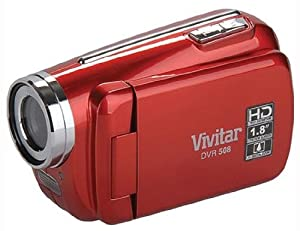 "Vivitar DVR508 High Definition Digital Video Camcorder with 1.8"" LCD Screen with 4x Digital Zoom (Red)"
