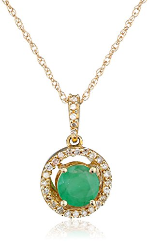 10k Yellow Gold Natural Emerald Center and Diamond Halo Pendant Necklace