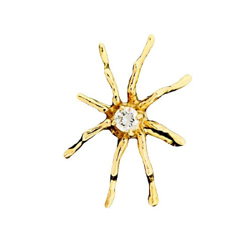 Single Gold Vermeil Cubic Zirconia Spider Ear Cuff