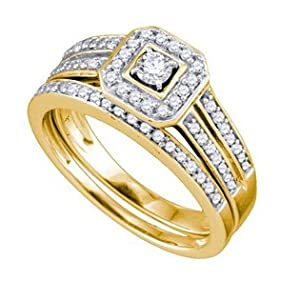14k Yellow Gold Round Natural Diamond Square-shape Halo Womens Ladies Bridal Wedding Engagement Ring & Anniversary Band Set - .50 (1/2) Ct.t.w.