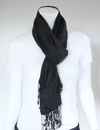 Anika Dali Premium Solid Color Pashmina Scarf / Shawl / Wrap (Black)
