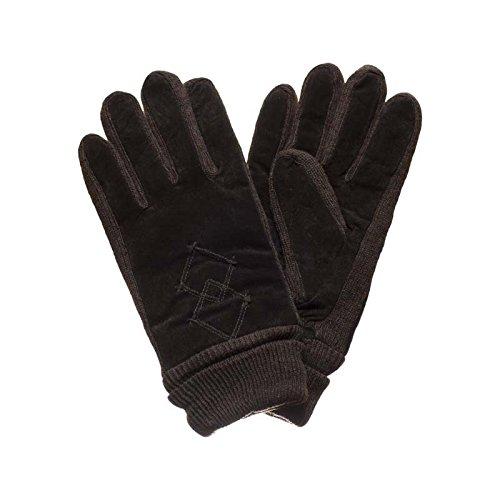 Damen Leder Wildleder Thinsulate Thermo Bestickte Winter Handschuhe (Schokolade) M/L