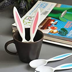 Rabbit Ears Baby Spoon And Fork Set Children tableware Kids Cutlery