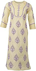 ALMAS Lucknow Chikan Cotton Regular Fit Kurtai (Beige and Purple)