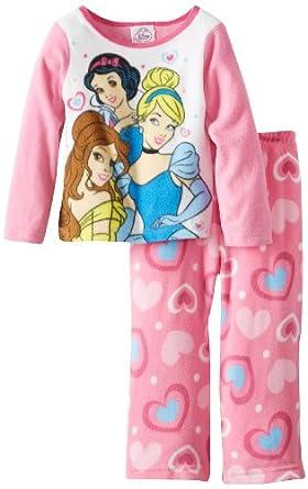Disney Princess Little Girls'  2 Piece Fleece Pajama Set, Multi, 2T