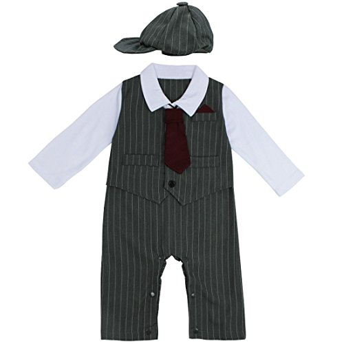 FEESHOW Baby Boys' Gentleman Romper Formal Party Wedding Tuxedo Outfit Suit Gray 6-12 Months