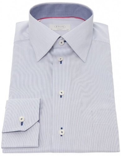 Eton Men's Shirt Navy Formal Microstripe UK 16